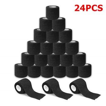 24pcs Black Disposable Cohesive Tattoo Grip Tape Wrap Elastic Bandage Rolls for Tattoo Machine Grip Tube Accessories