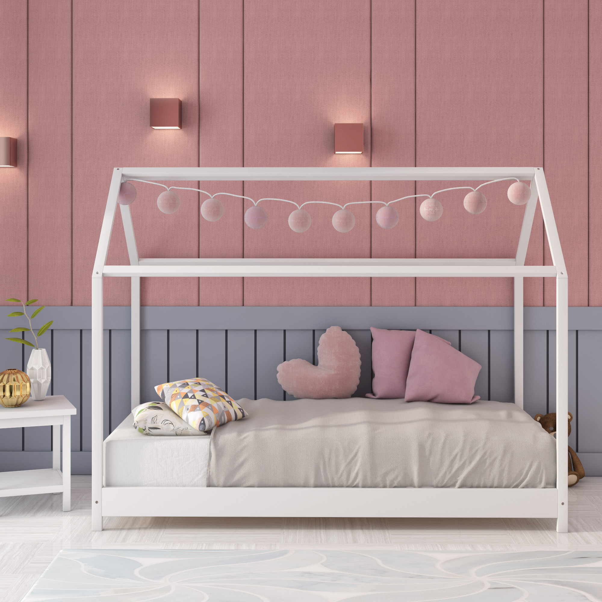 Panana Children Baby Bed Frame For Boy Girl With Bed Roof Single Bed Solid Pine Wood  Timber Kids House Bedroom Pretty Furniture