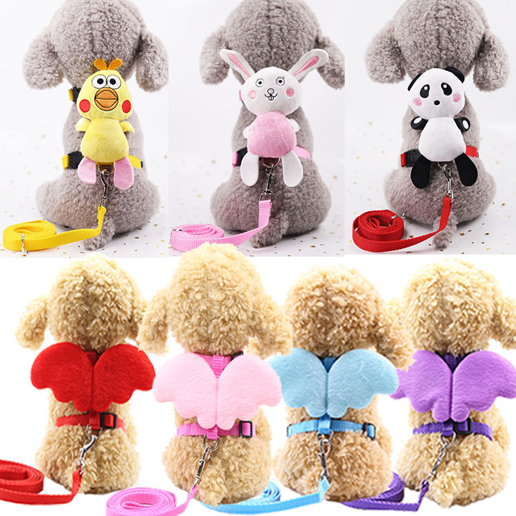 Pet Traction Rope With Angel Chest And Back Lanyard Wing Cartoon doll New Style Dog Traction Cat Traction H-shaped