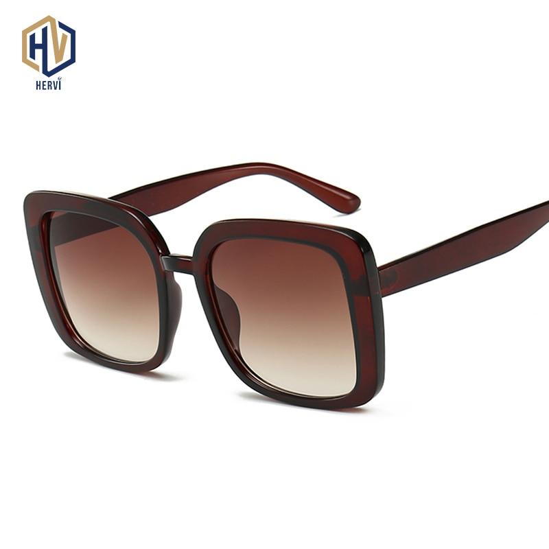 2019 Fashion Women Cool Square Gradient Sunglasses Driving Vintage Brand Design Men Oversized Sun Glasses Oculos De Sol