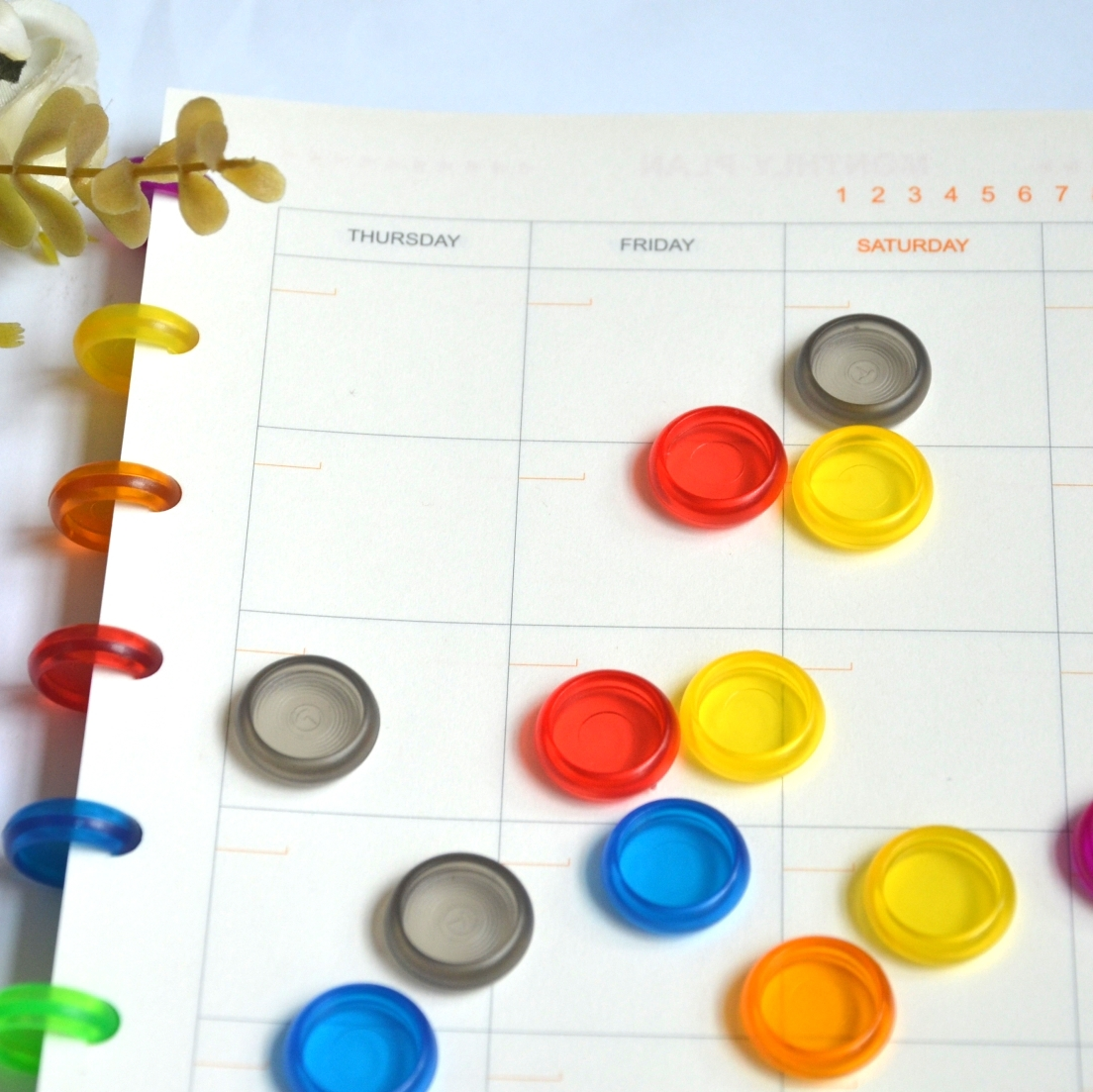 12pcs 18Mm Plastic Binding Disc Notebook Mushroom Hole Button Notepad Plastic Loose-leaf Coil Buckle Colorful Binder Ring
