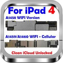 送料icloudオリジナルロック解除ipad 4マザーボード、のwifiバージョンipad 4とチップ、100% テスト & 良好な作動A1458
