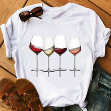 Wine Glass Women Tshirt Funny T Shirt Women Printed Camiseta Mujer Short Sleeve Tshirt Lady Yong Girl Top Tee Higher Quality