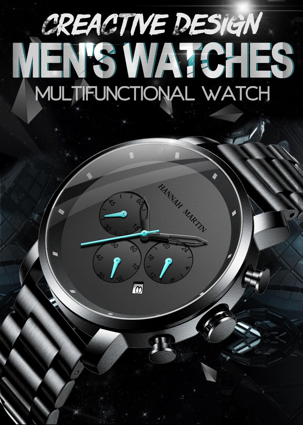 H4b85e633ba314c9eab57e2b62a267725l DropShipping Big Dial 45mm Full Black Stainless Steel Multi-function Calendar Men's Top Brand Luxury Watches Relogio Masculino
