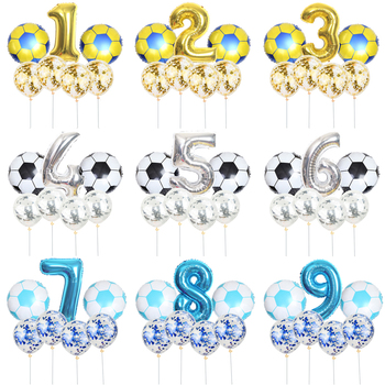 7 Pcs/lot Football Soccer Theme Round Balloons Confetti Latex Helium Balloon Birthday party Decor Children's Toys Ball image