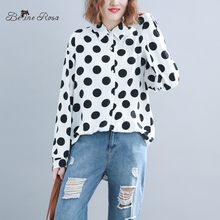 BelineRosa 2019 Women's Polka Dot Blouse Long Raglan Sleeve Turn Down Collar Plus Size Blouses Female JYYC0012 raglan sleeve knot side blouse