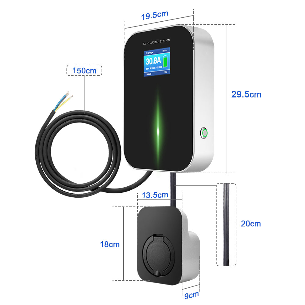 Image 2 - 32A 3Phase EVSE Wallbox EV Charger Electric Vehicle Charging Station Type 2 Socket IEC 62196 2 for Audi MINI Cooper VolkswagenChargers & Service Equipment   -