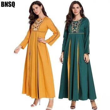 BNSQ Plus Size Casual High Quality Floral Embroidery Dresses Party muslim Maxi  abaya Turkey Indonesia Oman Pakistani dress
