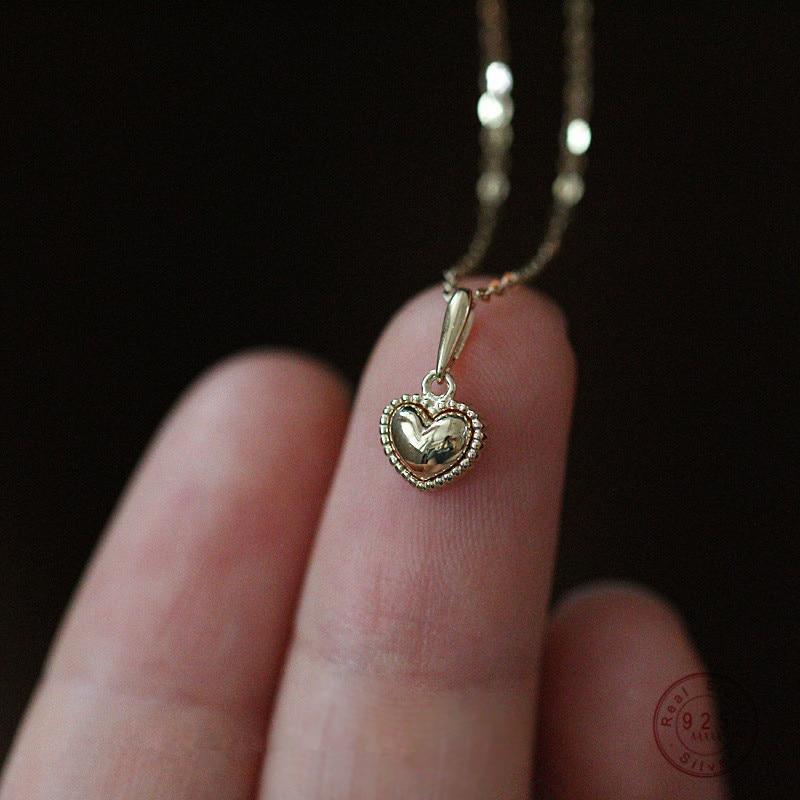 925 Sterling Silber 14k Gold Einfache Zarte Herz Anhänger Halskette Frauen Mode Niedlichen Party Schmuck Zubehör