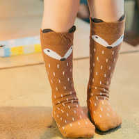Baby Infants Kids Toddlers Girls Boys Knee High Socks Tights Leg Warmer Ribbon Cartoon Fox Cotton Stretch Cute Lovely 0-4Y