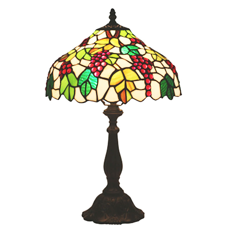 FUMAT Tiffany Style Desk Lamps Red Grape Cherry Green Leaf Stained Glass Table Home Decor Lights Handcraft Arts 16 Inch E27 LED LED Table Lamps     - title=