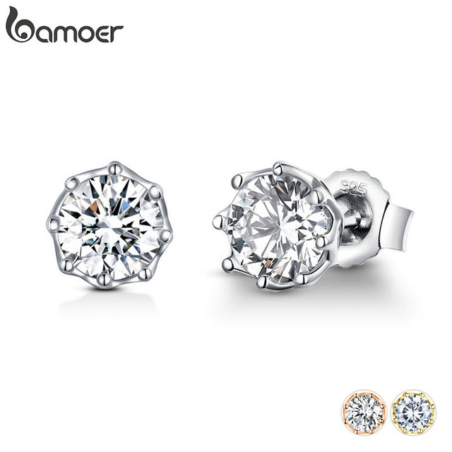BAMOER Authentic 925 Sterling Silver Classic Clear Cubic Zircon Small Stud Earrings for Women Sterling Silver Jewelry SCE499 1