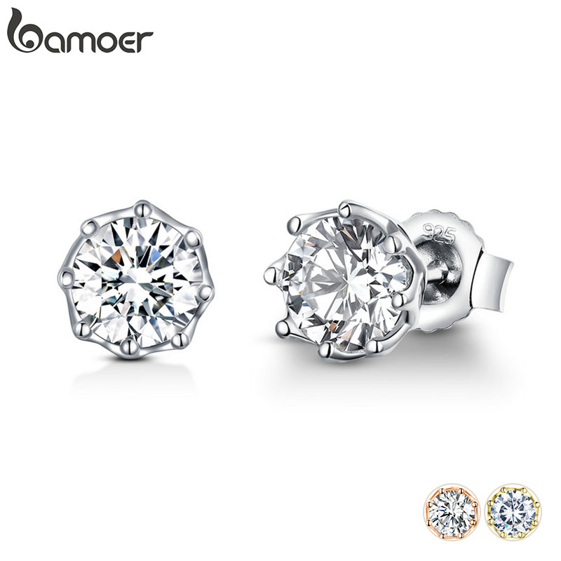 BAMOER Authentic 925 Sterling Silver Classic Clear Cubic Zircon Small Stud Earrings for Women Sterling Silver Jewelry SCE499|Stud Earrings| - AliExpress