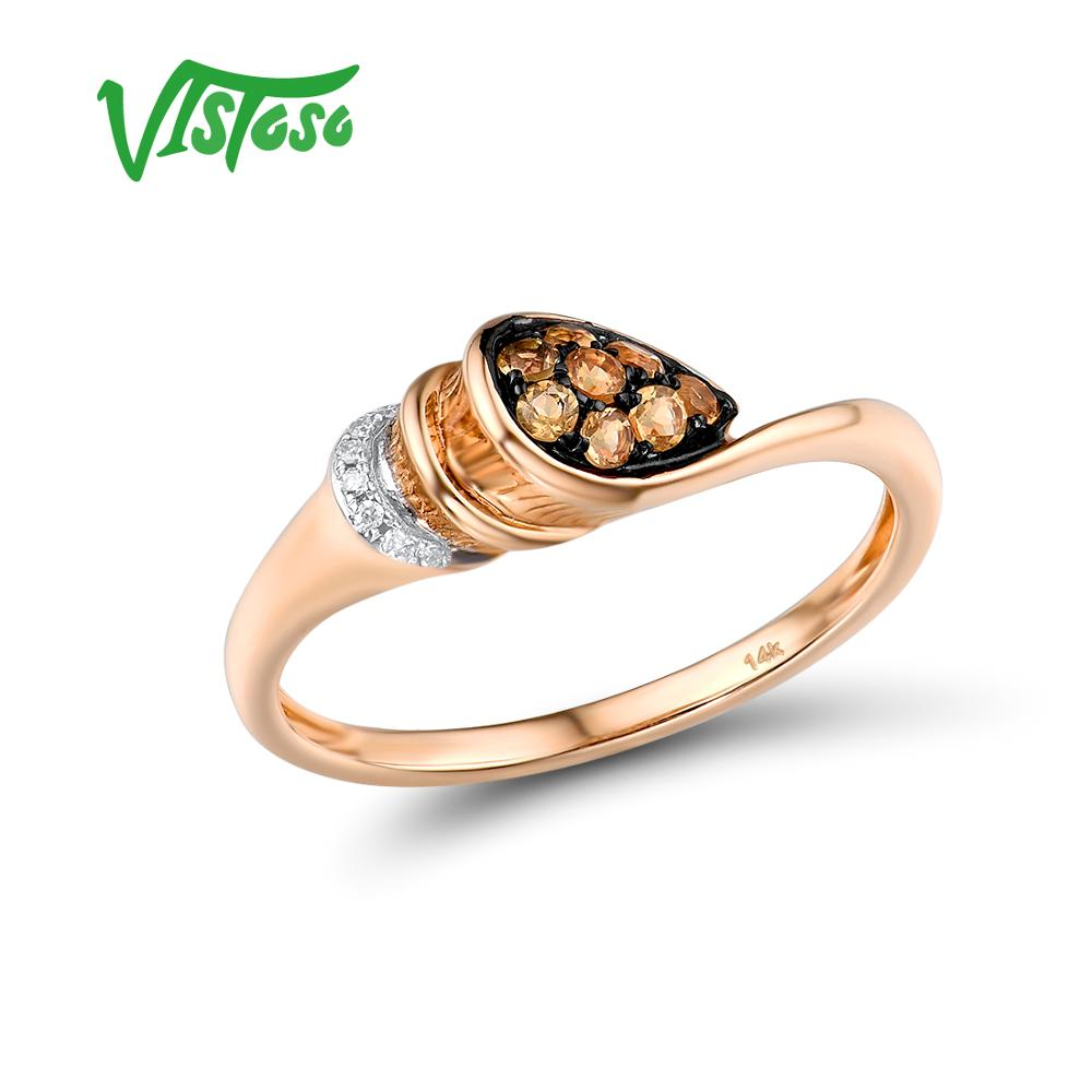 VISTOSO Pure 14K 585 Rose Gold Ring For Women Ring Shining Diamond Charming Citrine Wedding Engagement Elegant Fine Jewelry