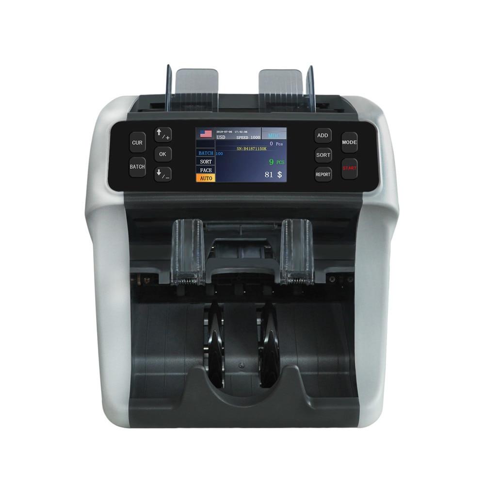 2 Pocket Value Bill Counter And Sorter Emixed Denomination Money Counter And Bill Detector Machine