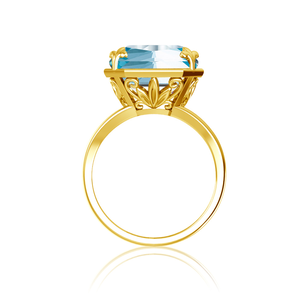 Real 925 Sterling Silver Engagement Rings Aquamarine Ring 14K Gold For Women Square Gemstone Blue Brand Fine Jewelry For Women