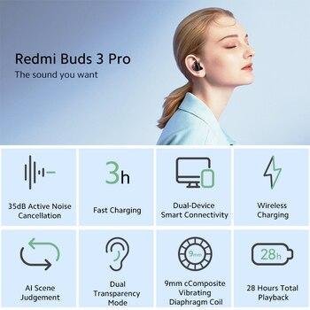 Global Version Xiaomi Redmi Buds 3 Pro TWS Bluetooth Earphone Redmi Airdots 3 Pro Wireless Earphone ANC IPX4 For K40 Note 10 Pro 2