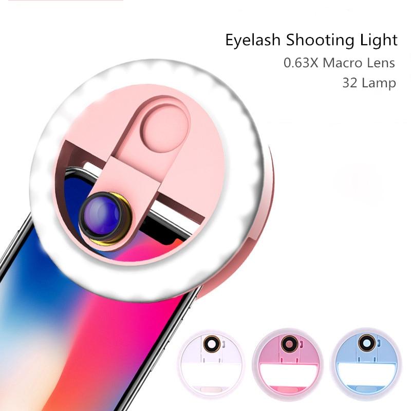 0.63 X Macro Eyelash Shooting Fill Light LED Lamp Eyelash Extension Tool Eyelash Extension Magnifying For False Lashes 2019