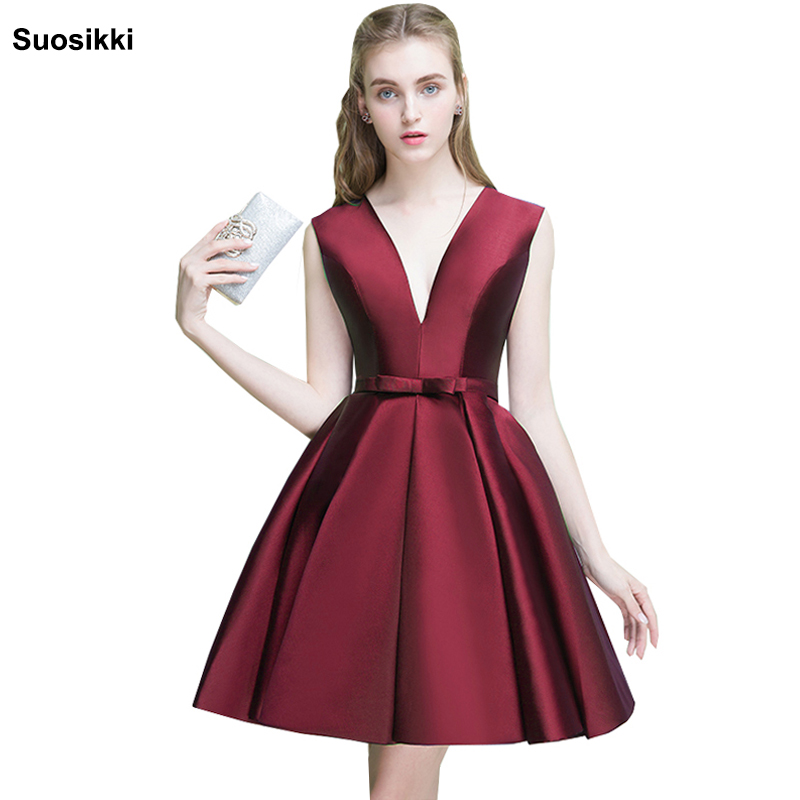 Sexy Short Cocktail Dresses 2019 Bridal Banquet Wine Red Stain Backless Party Formal Evening Dress Homecoming Robe De Soiree