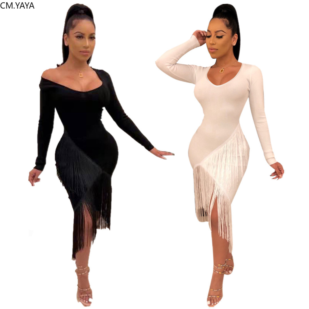 GL Autumn Women winter Full Sleeve Bodycon V Neck Open Mini dress Tassel Sexy Casual club night party bandage dresses p8453|Dresses| - AliExpress