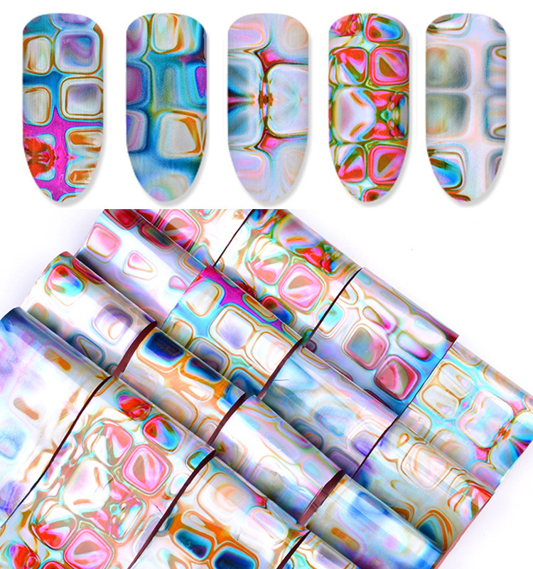 New Style Nail Sticker Maze Gradient Smudge Star Nail Stickers Marble Flower Stickers 16-Mixed