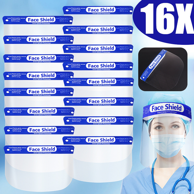 5/8/10/16/20x Full Face Mask Cover Safety Face Shield Clear Film Mask Protector Anti-fog Anti-droplet Dustproof