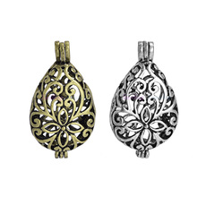 Dropshipping 10Pcs Antique Silver Color Drop Shape Hollow Locket Pendants For DIY Necklace Making