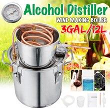 3GAL/12L дистиллятор Самогонный спирт дистиллятор из нержавеющей меди DIY домашний Вода Вино эфирное масло пивоварения комплект