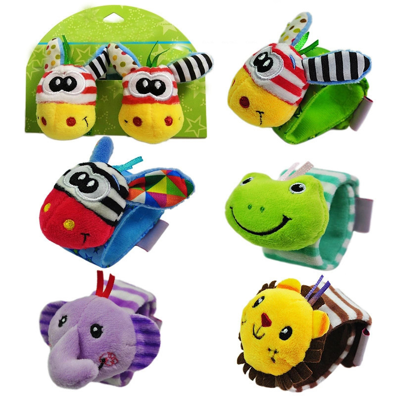 2 Pcs Baby Toys Baby Rattles Animal Wrist Strap With Rattle Baby Wrist Strap Cartoon Educational Best Gift Frog Toy For Children