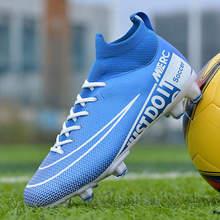 Spring Professional Spike Sneakers Man Blue FG Football Boots Men Protect Ankle Knit Socks Soccer Boots for Men bota de futbol