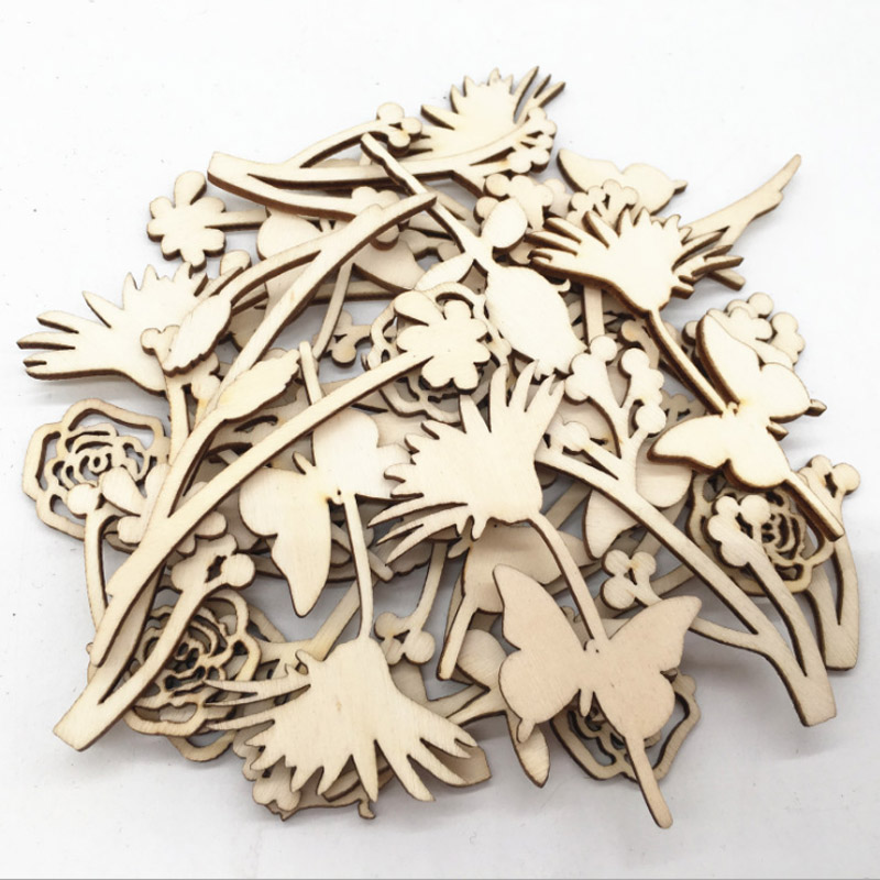 30Pcs Wood Carfts Wooden Pieces DIY Scrapbooking Rose Flower Eco-friendly Laser Cut Embellishment Wedding Decoration