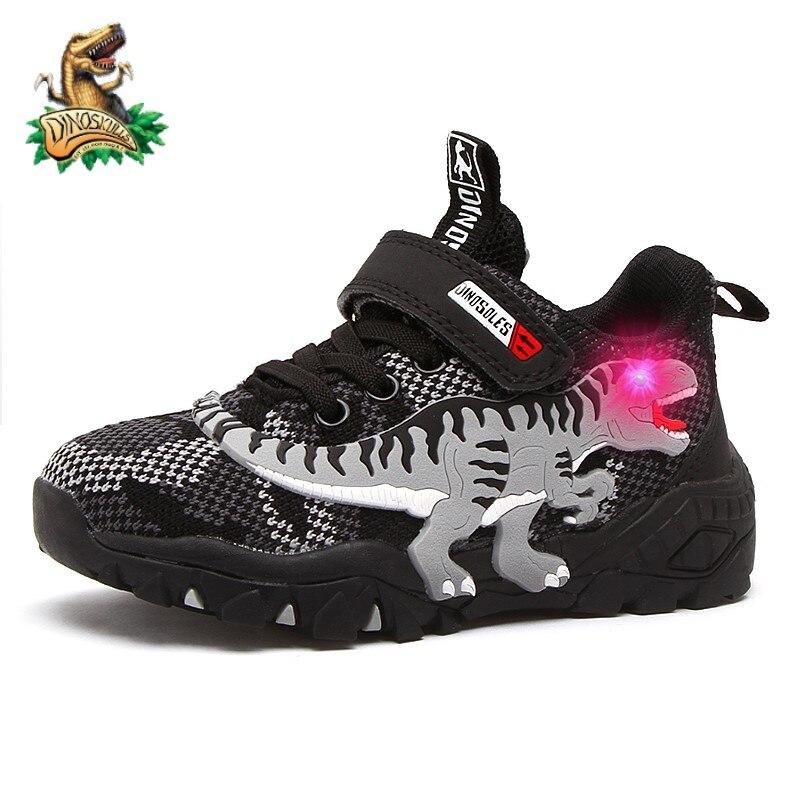 Dinoskulls детская Весенняя светодиодная обувь для мальчиков, светящиеся кроссовки T-Rex, новинка 2021, сетчатый дышащий детский мигающий светильни...