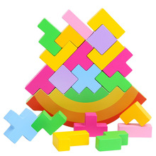 Rainbow Swing Stack High Childrens Puzzle Three-dimensional Geometric Building Blocks Balance Wooden Toys Tetris Kids Gifts