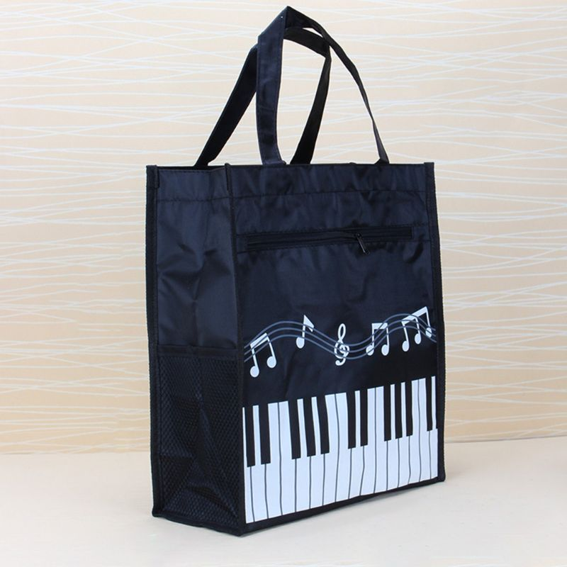 Piano Keyboard Music Note File Document Bag Women Tote Handbag Shoulder Shopping Bag Waterproof C26
