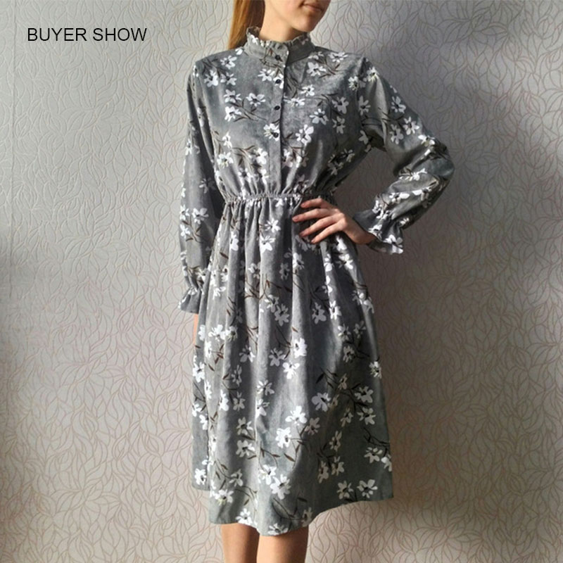 Corduroy Butterfly Sleeve Print Mid-long Dress Women Vintage Elastic Waist Dresses Multicolor Female Fashion Floral Dress 2019