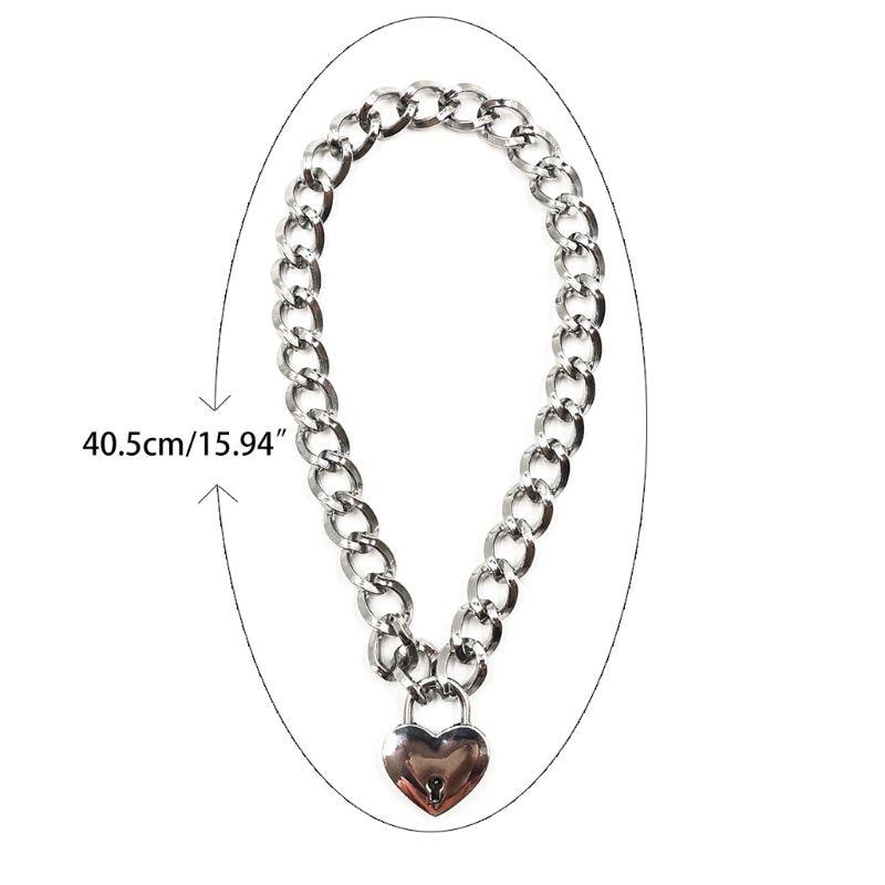 Women Fashion Sexy Harajuku Handmade Gold-Color Link Chain Necklace Punk Choker Beauty Lock Collar Belt Torques Club Party
