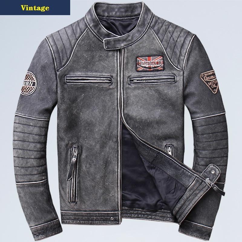 Free shipping plus motor Brand style Vintage men s quality genuine leather Jackets slim 100 natural Innrech Market.com