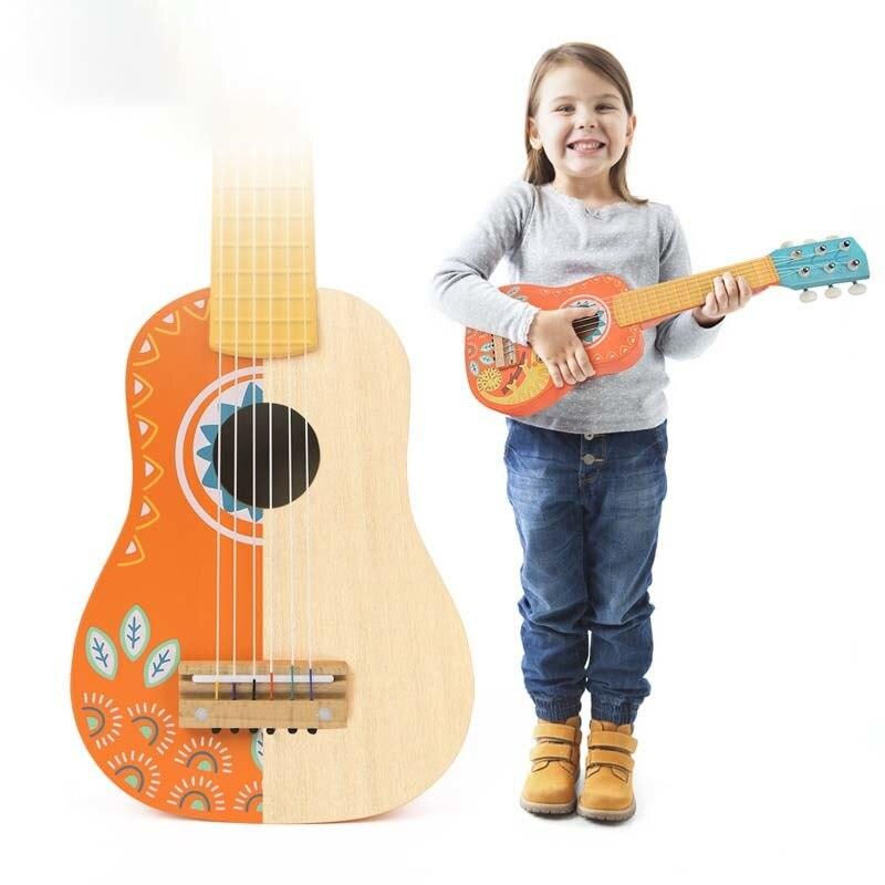 Jouet pour enfants en bois de haute qualité guitare Instrument de musique jouable cadeau éducation précoce et culture de l'intérêt de la sagesse