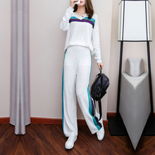 Wide-Legged Pants Suit 2019 Autumn New Brim Long-Sleeved Casual Hoodies Trousers Two-Piece Outfit Women Leisure Vestido