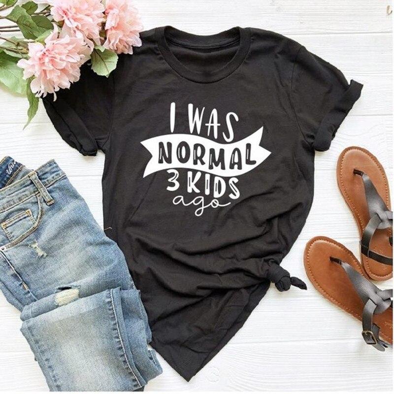 Футболка с надписью «I Was Normal Three Kids Ago», забавные женские топы, футболки для мамы и дочки, футболка с буквенным принтом