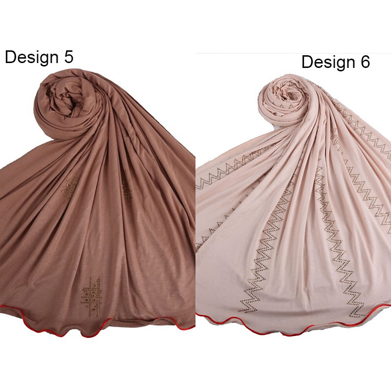 Mix Design-new arrival Two side redline stretchy Jersey Hijab Scarf  with diamonds for muslim women shawls  2020 netherlands