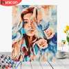 HUACAN DIY Oil Painting By Numbers Girl HandPainted Home Decor Kits Drawing Canvas Figure Pictures By Numbers