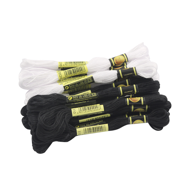 24 Skeins Black Embroidery Threads,Embroidery Special Patch Line Cross Stitch Embroidery Floss with 12 Pieces Floss Bobbins