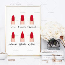 Formas de uñas acrílicas para decoración salón de belleza, carteles e impresiones de moda, regalos de uñas de maquillaje, tipo guía de uñas, imágenes de pintura en lienzo