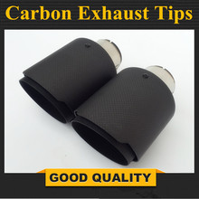 Universal Stainless steel Carbon Fiber Car Vehicle Rear Round exhaust Pipe Tail Muffler Tip Throat Exhaust System Car Accessorie universal car exhaust muffler tip high quality stainless steel pipe chrome trim modified car tail pipe exhaust system new