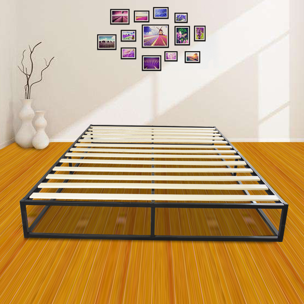 Simple Basic Iron Bed Queen Size Black Weight Capacity 250 Kg Iron   Wood Slat Bed Bed Frame Nordic Minimalist Furniture Bed