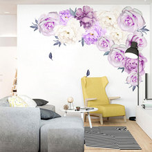 Purple Peony Wall Stickers for Living room Bedroom Background Removable Vinyl Wall Decals Eco-friendly Wall Murals Home Decor blue peony wall stickers bedroom living room tv background diy vinyl plants wall decals eco friendly removable diy wall murals