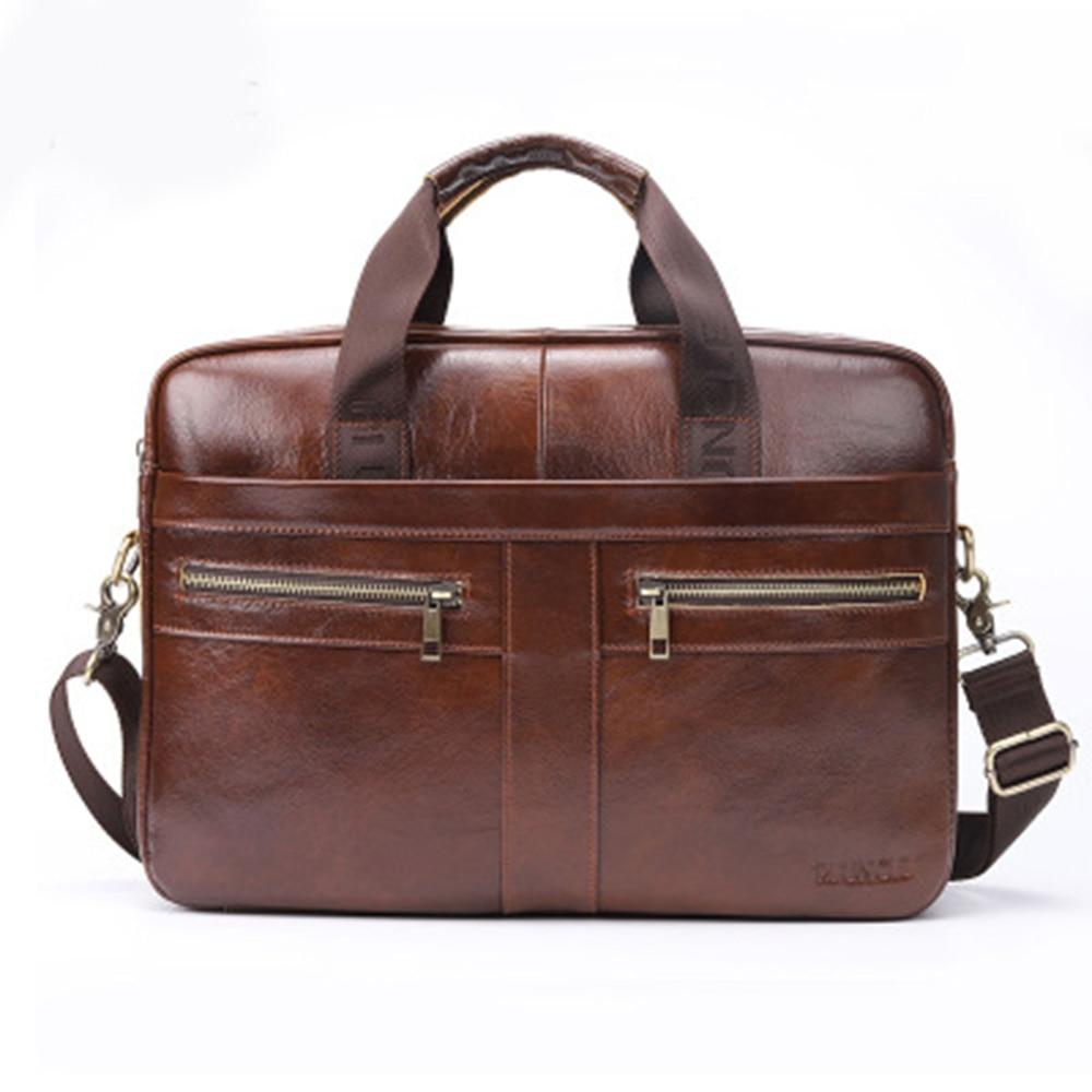 Genuine Leather Briefcase Men Leather Laptop Bag Fashion Business Computer Bag Messenger Briefcases Male Travel Shoulder Bags