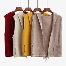 цены на 2019 New Autumn Winter Casual Hooded Knit Cardigan For Women Plus Size Loose Short Sleeveless Sweater Female Vest Knit Waistcoat  в интернет-магазинах