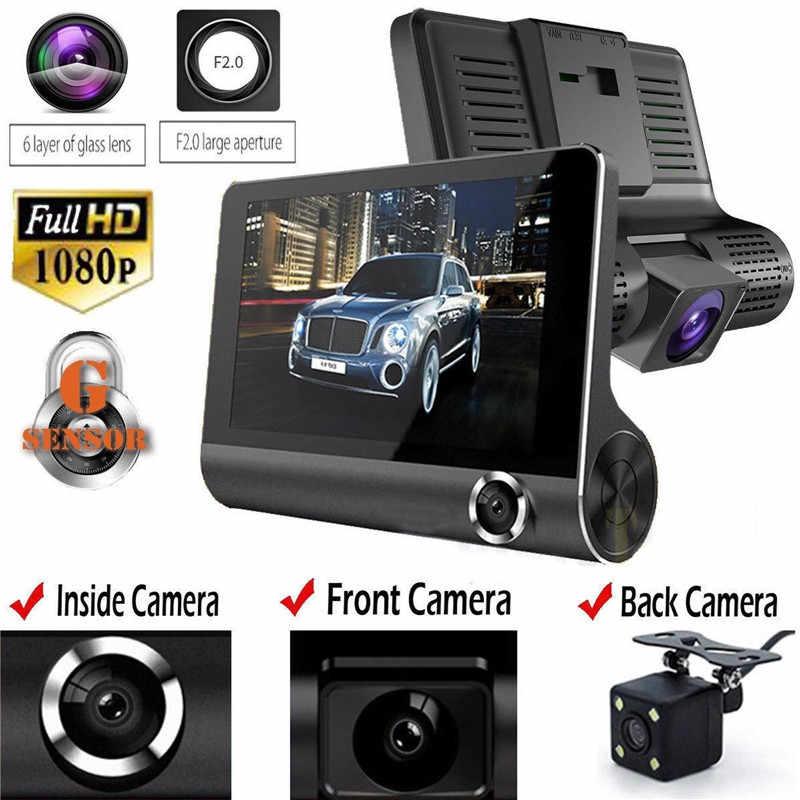 รถ DVR 3 กล้องเลนส์ 4.0 นิ้ว IPS Dash กล้อง Dual เลนส์กล้องบันทึกภาพด้านหลังกล้อง Auto Registrator Dvrs night Vision